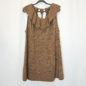 BCBGMaxAzria | Camel Ruffled Wool Sweater Dress
